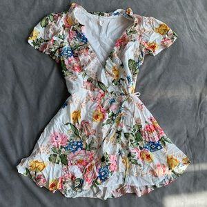 Indikah floral print wrap mini dress